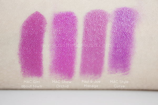 MAC lipsticks comparisons dupe Show Orchid Girl About town