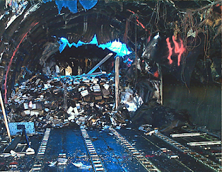 Aftermath of in-flight cargo fire aboaard UPS DC-8 plane -- forced to make emergency landing at Philadelphia Airport, 7 Feb. 2006.