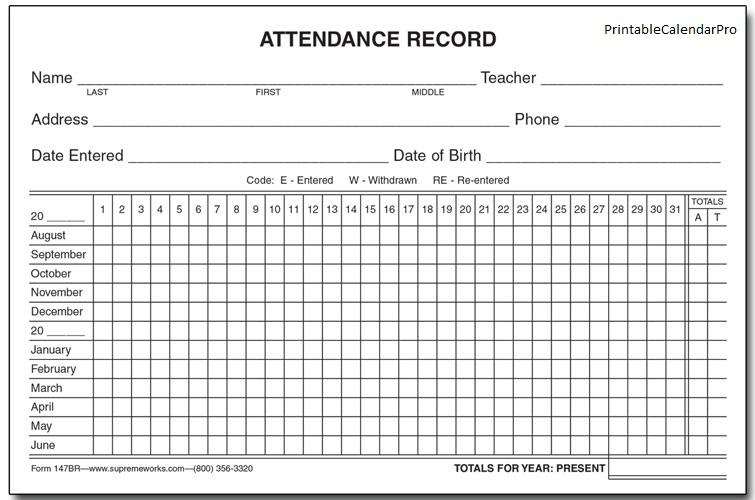 free printable 2018 attendance calendar
