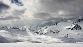 Winter Amazing Mountains Gray Clouds HD Wallpaper