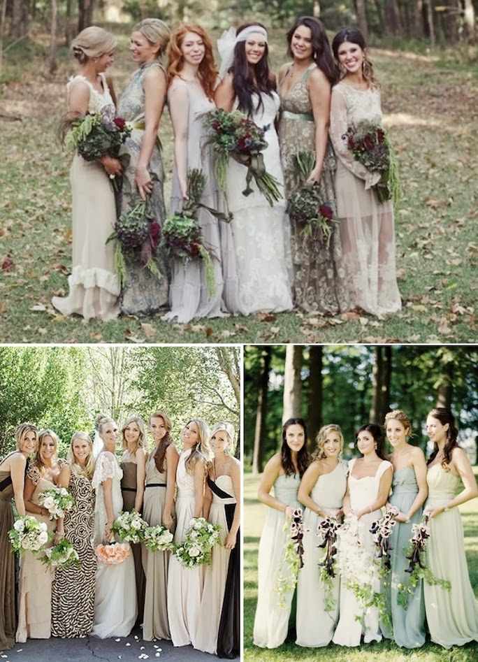 long mismatched bridesmaid dresses