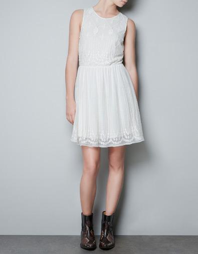 Vestito bianco pizzo zara