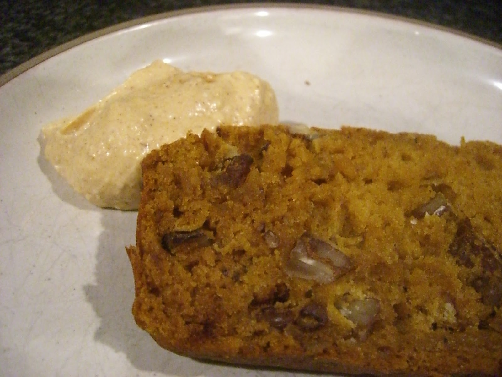 ... Sugar & Spice~ : Pumpkin Pecan Bread with Pumpkin Cream Cheese Spread