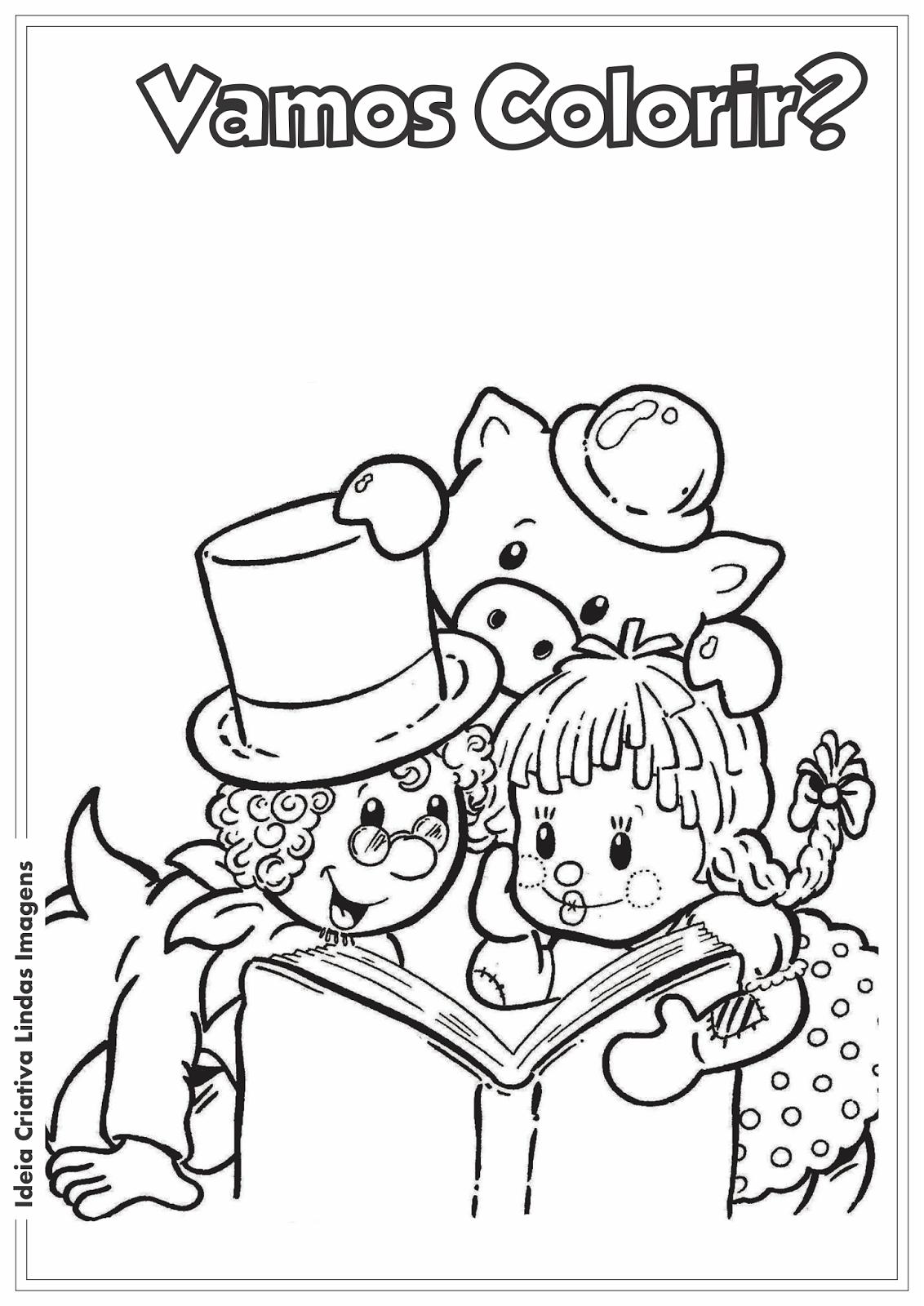 Dia de Monteiro Lobato - Sítio do Picapau Amarelo - Emília, Visconde, Rabicó desenho para colorir