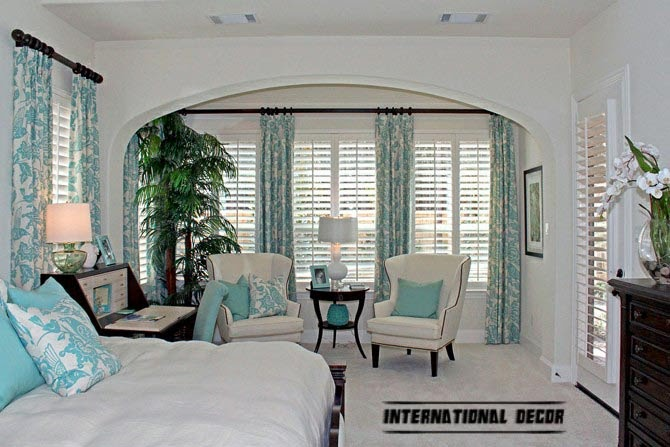 bedroom with turquoise curtains