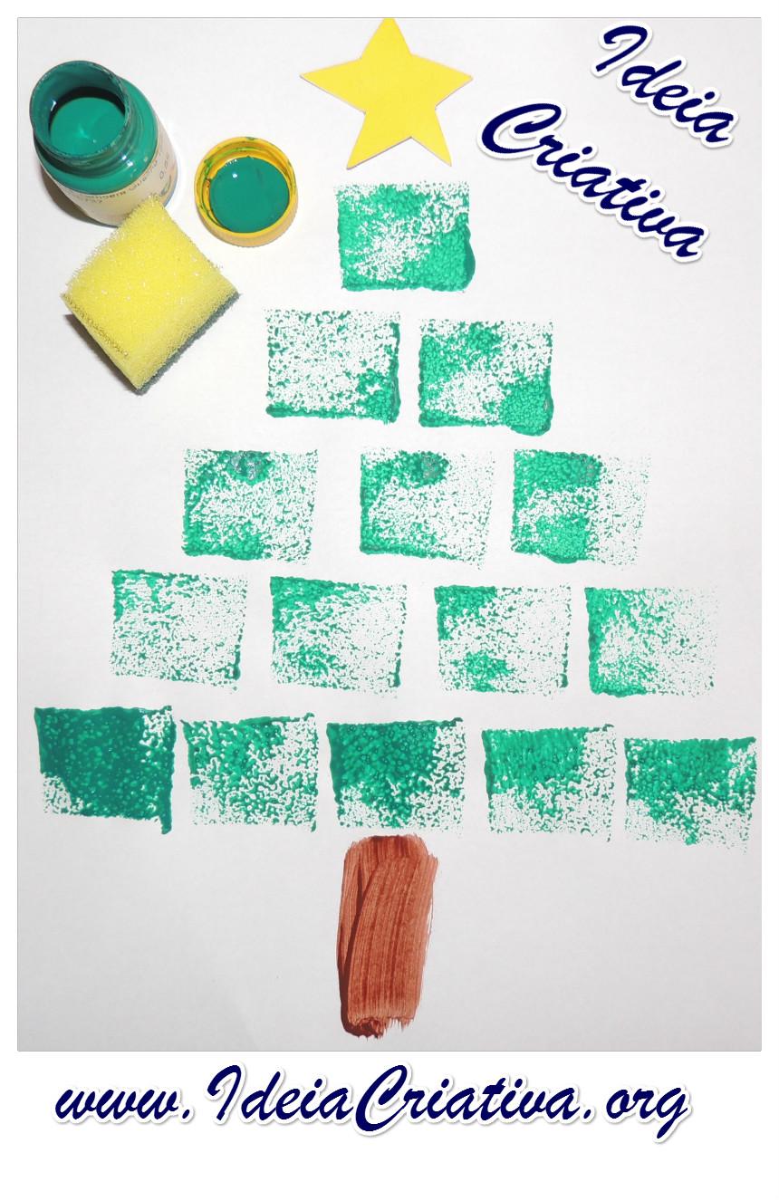 Árvore de Natal Pintura esponjada