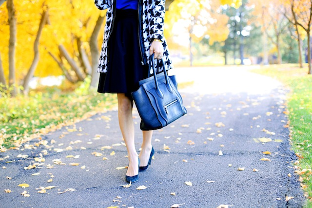 houndstooth coat, celine mini luggage tote, black luggage tote, blue and black, celine audrey.