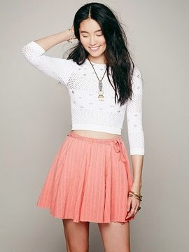 Cute pink mini wrap skirt from Free People