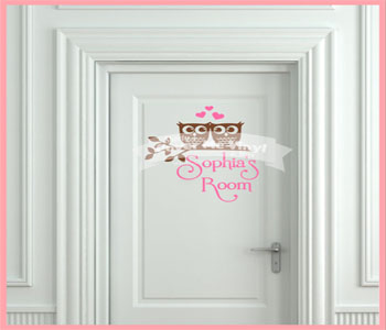 Love Owls Door Wall Decal