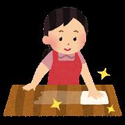 机を拭いている女性のイラスト(掃除)