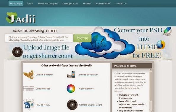 Jadii tool to convert PSD design into HTML code