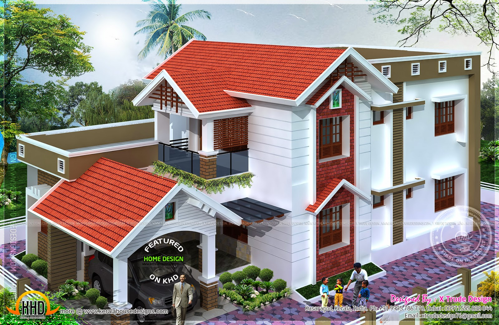 2401 square feet nice house renderings kerala home for Nice house design