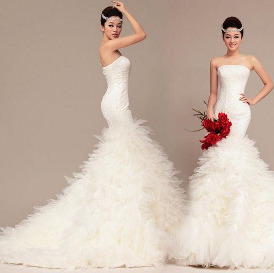 Vestido de novia corte sirena cola larga