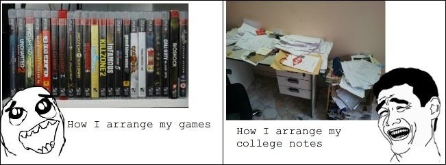 How I Arrange My Games vs How I Arrange My College Notes