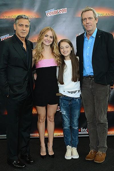 George Clooney, Britt Robertson, Raffi Cassidy and Hugh Laurie