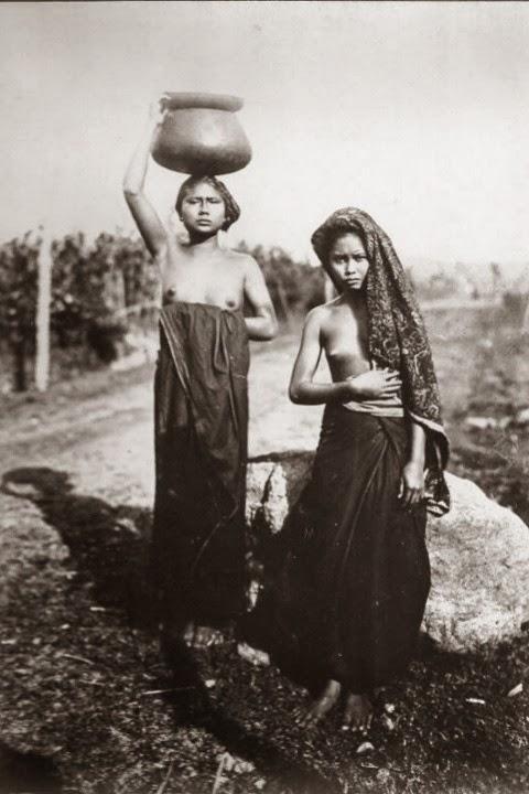 Old Indische 2 Native Balinesse Girls Bali Indonesia 1920s