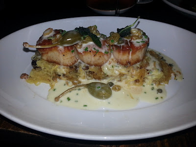 Scallops Picatta  at Lucca Restaurant at Boca Raton Resort & Club.