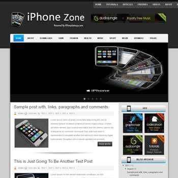 iPhone Zone blogger template. download iphone application news template for blogger