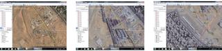 لقطات حقيقية مصورة من القمر الصناعي لبرنامج جوجل إرث توضح مراحل بناء المتحف على أرض الواقع