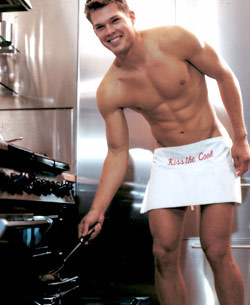 sexy man in kitchen apron