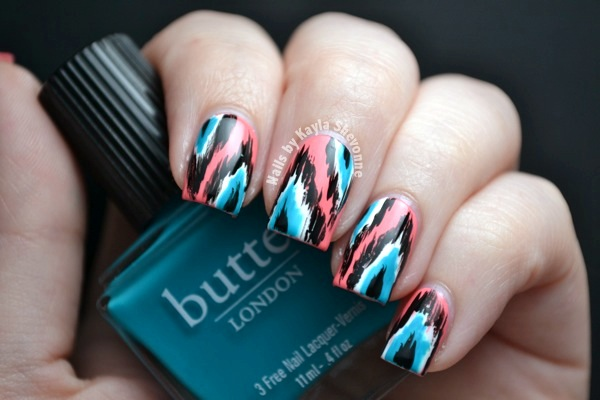 Nails By Kayla Shevonne Summery Coral And Teal Ikat Mani Butter