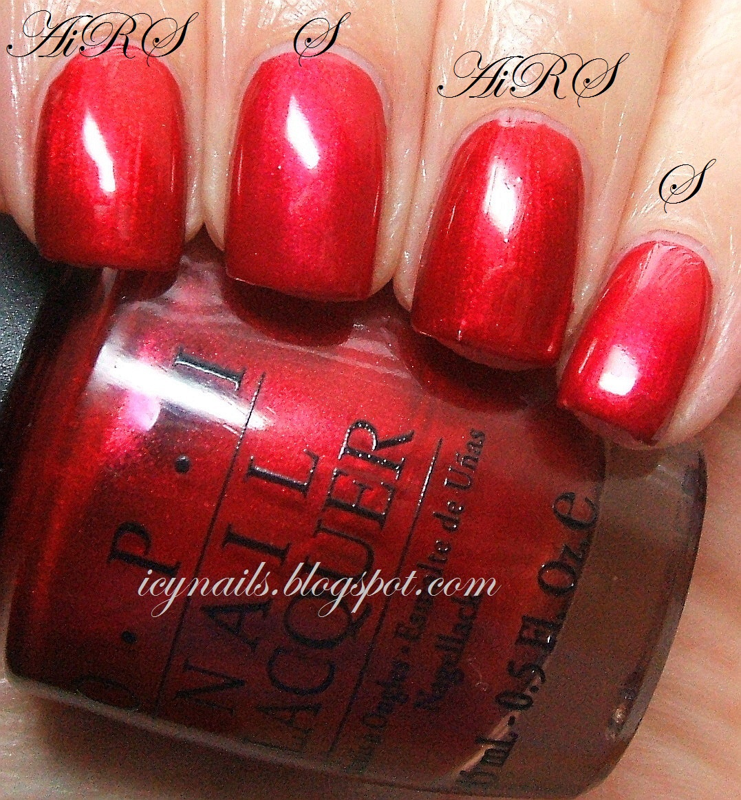 Comparison Opi An Affair In Red Square And Pure Ice Scarlet