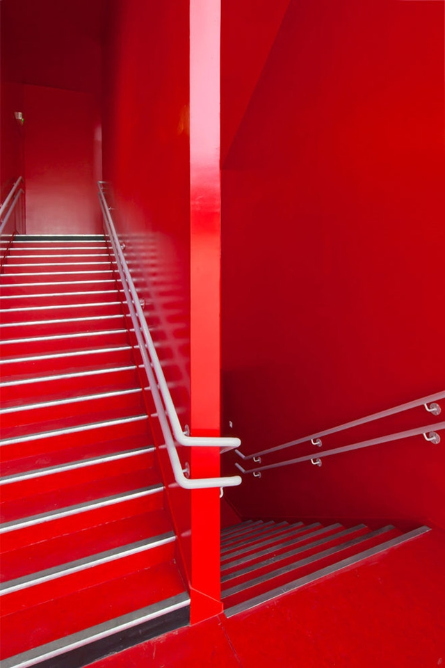 Photo of red painted staircase
