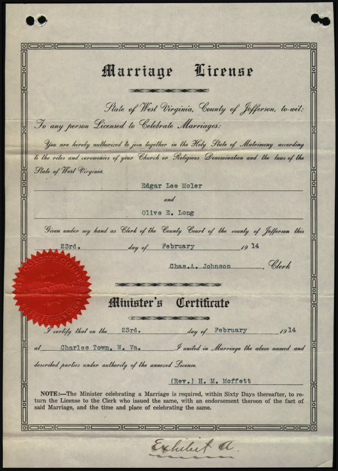 Prince William County Genealogy Marriage License Edgar Lee Moler