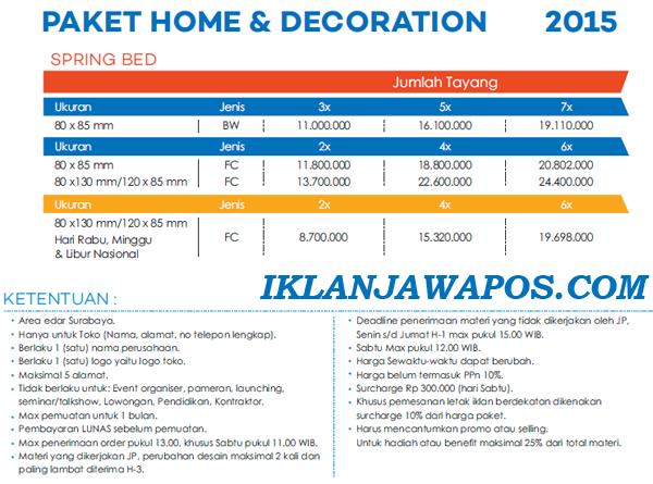 Pasang Iklan Jawa Pos Display Paket Home Decoration 2015