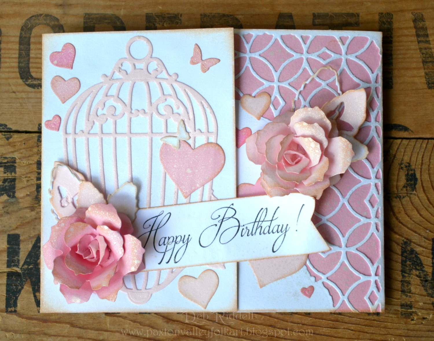Paxton Valley Folk Art Shabby Pink Roses Birthday Card