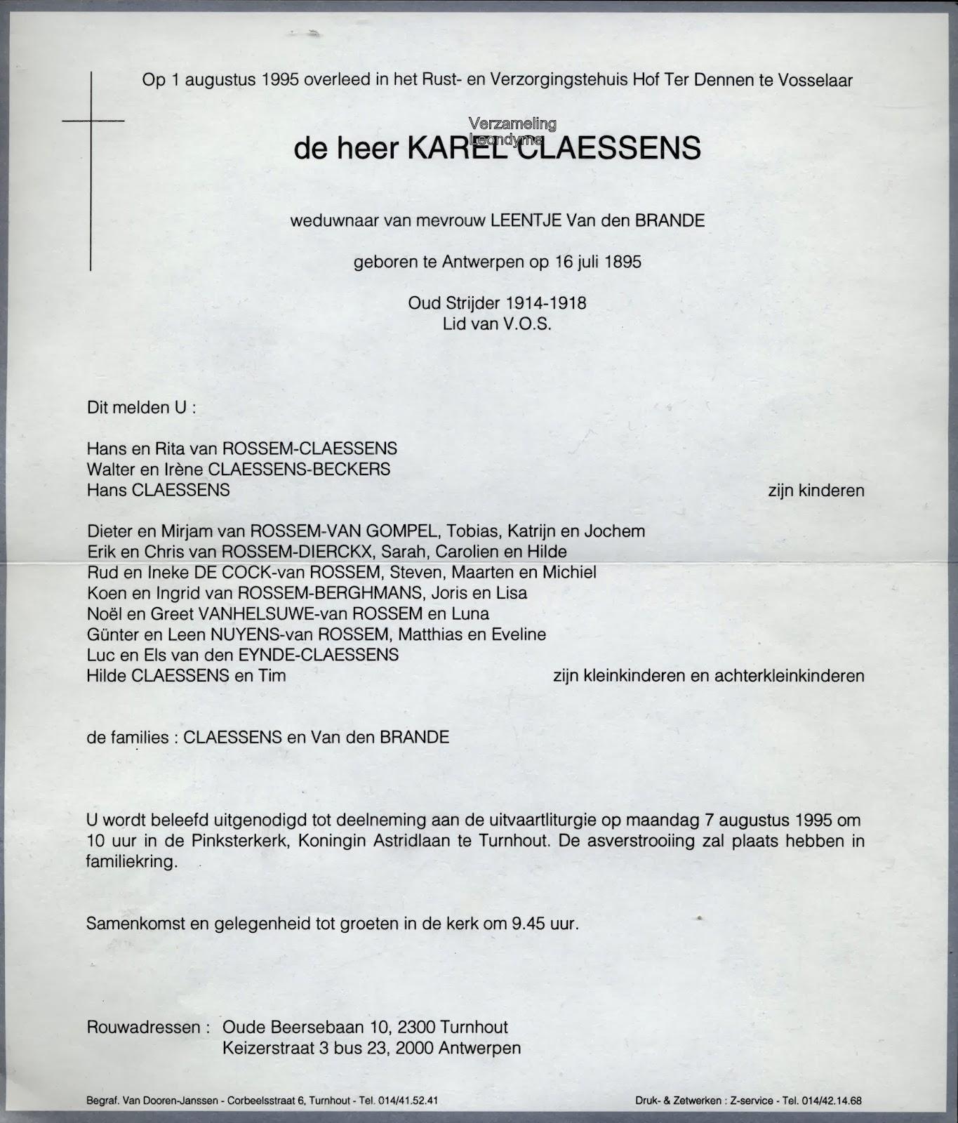 Rouwbrief oud-strijder Karel Claessens 1895-1995. Verzameling Leondyme.