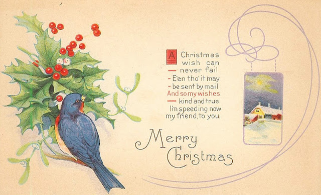 Antique-Christmas Postcard-winter birds-holly-berries-farmhouse christmas-via KnickofTimeInteriors.blogspot.com