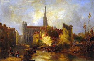 Le Grand Odon longeant le chevet de l'église Saint-Pierre (W. Fowler, 1841)