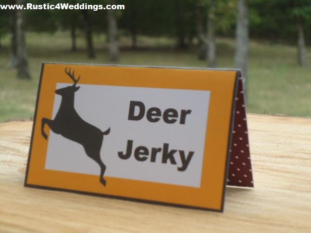 Rustic 4 weddings september 2013 food place card labels diy printable orange deer tent cards for rustic weddings camouflage weddings country weddings western weddings barn weddings solutioingenieria Gallery