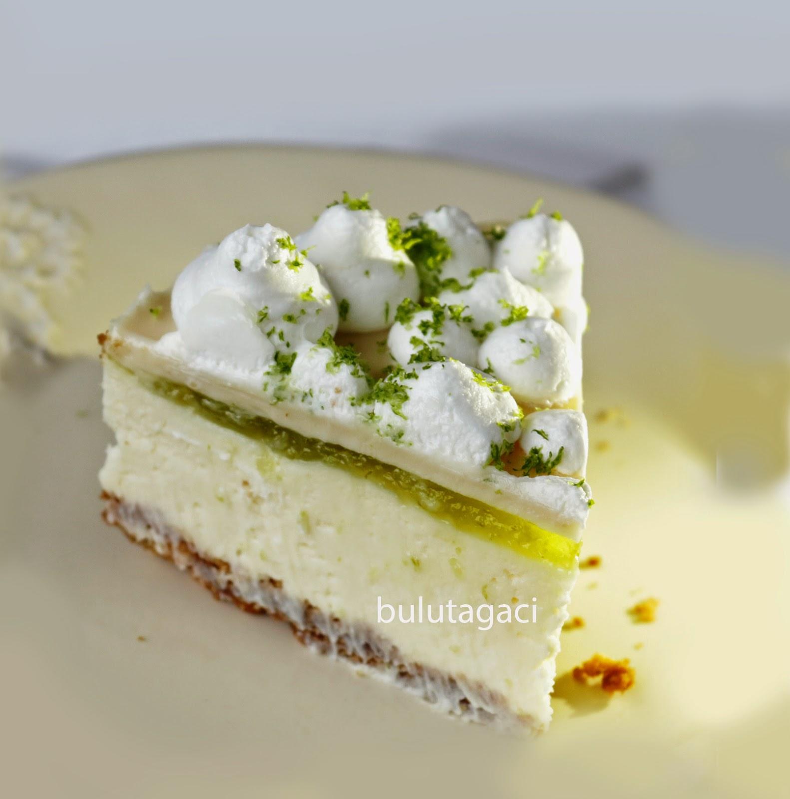 Beyaz Çikolata ve Misket Limonlu Cheesecake / No bake White Chocolate and Lime Cheesecake