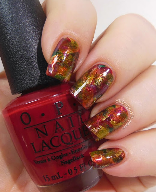 Thanksgiving brushstroke manicure