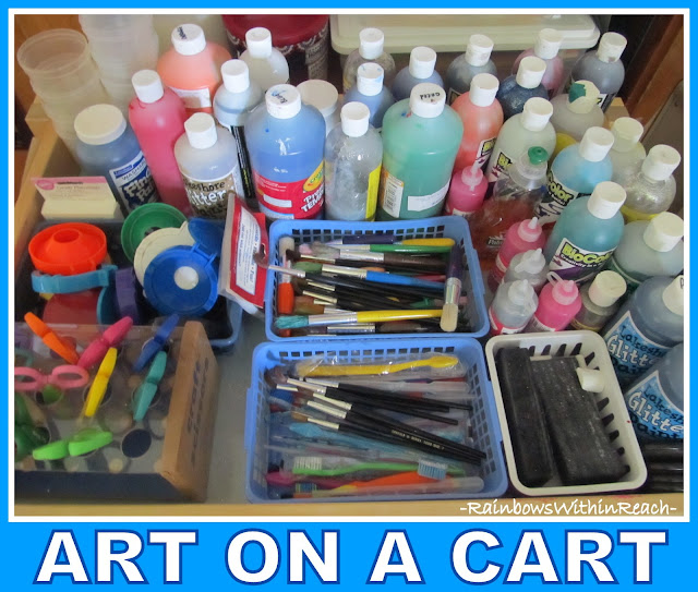 photo of: Art on a Cart Supplies Organized for Preschool 