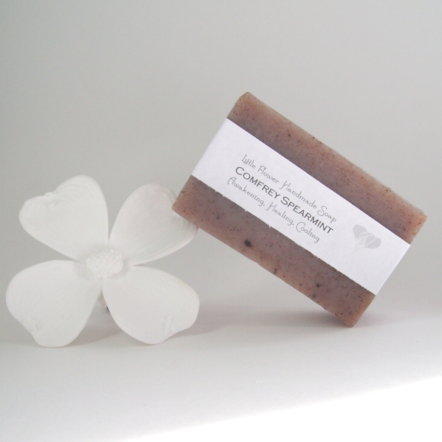 all natural soap comfrey spearmint soap comfrey root powder spearmint essential oil soap made in michigan soap cold process soap rustic farmhouse soap cottage soap the little flower soap co