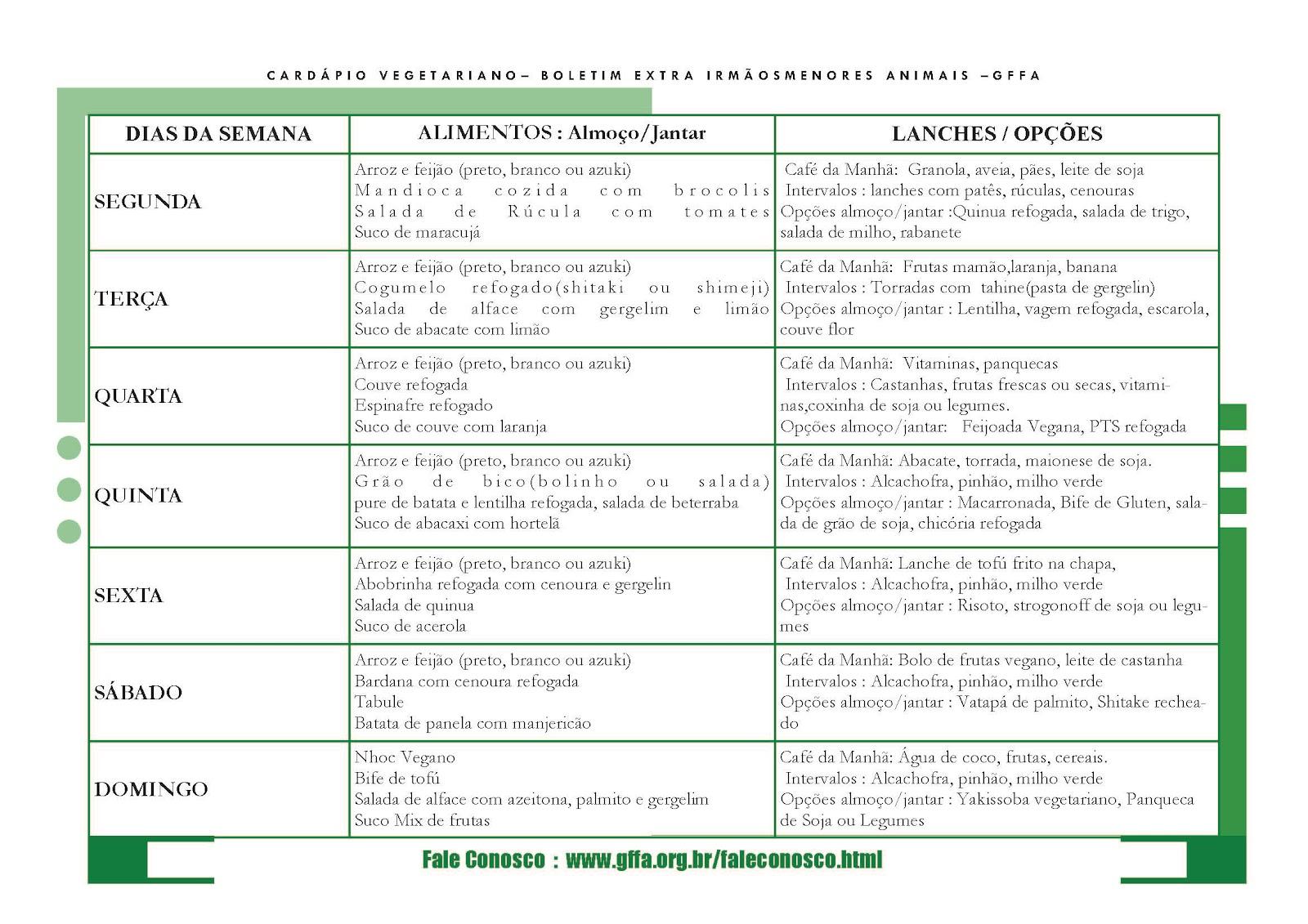 Para baixar o Cardápio em PDF clique aqui: Cardápio Vegetariano ...