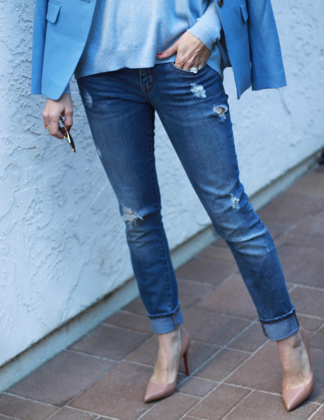 distressed denim and louboutins