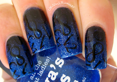 Picture Polish Freya's Cats with black gradient and stamping