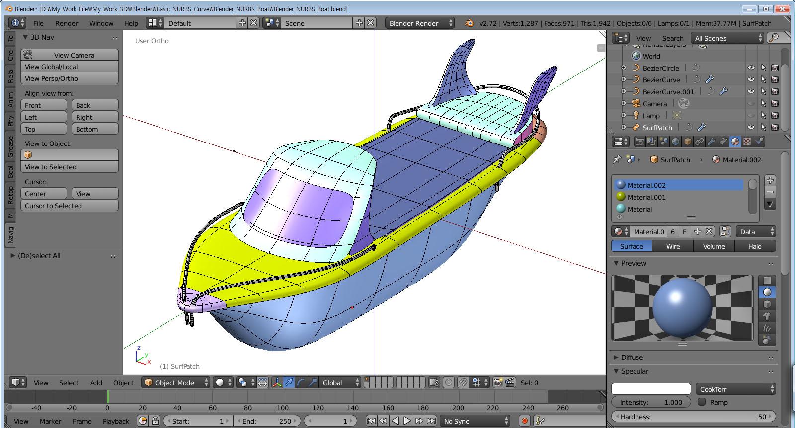 Korea3D: Blender 2.72b NURBS Surface + Boolean Modeling Test