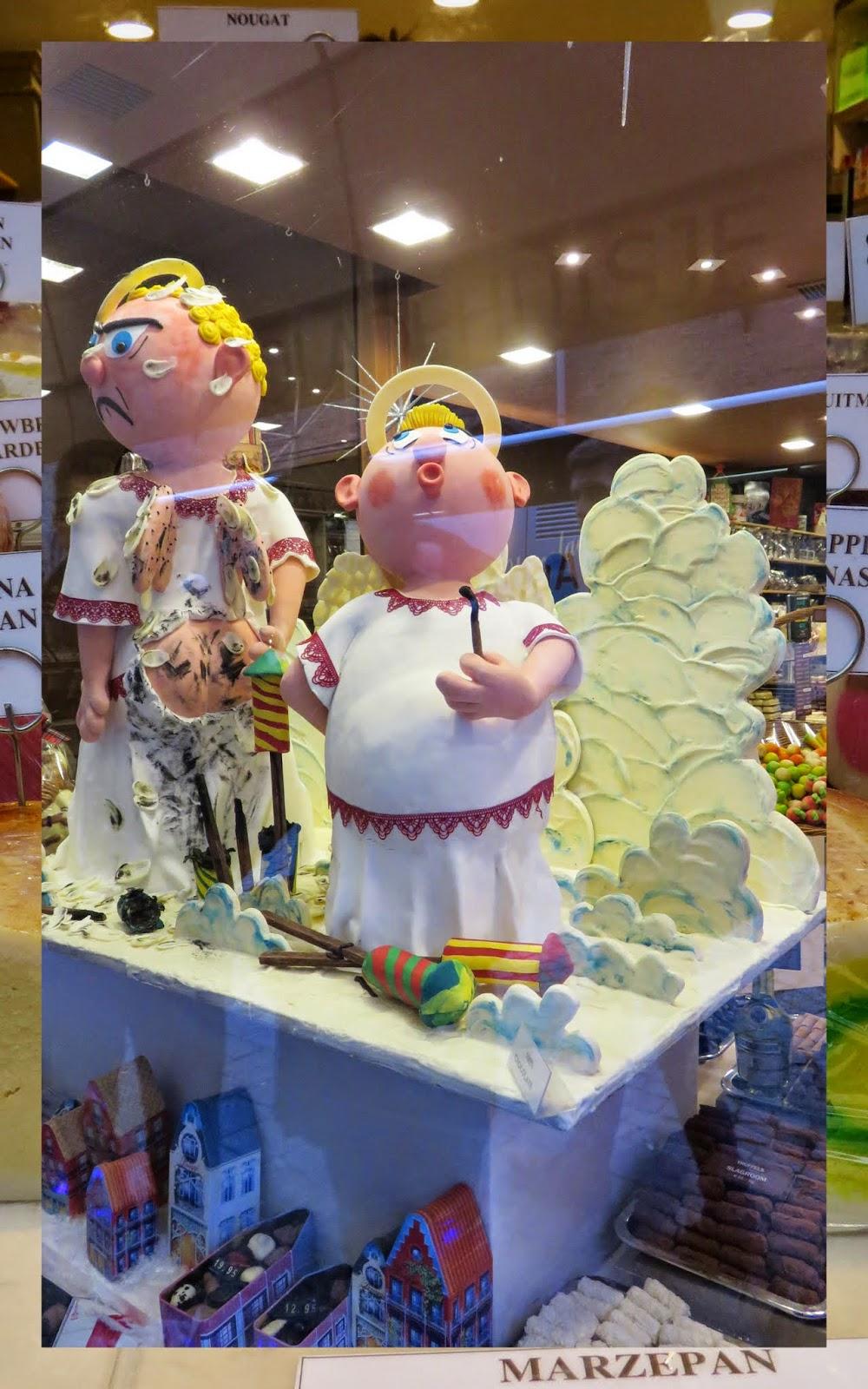 Marzepan angel display in Bruges