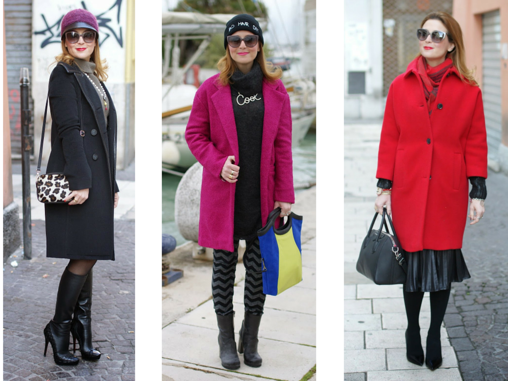The best winter coats, black coat, fuchsia coat, red coat, fashion blogger Fashion and Cookies, fashion blog