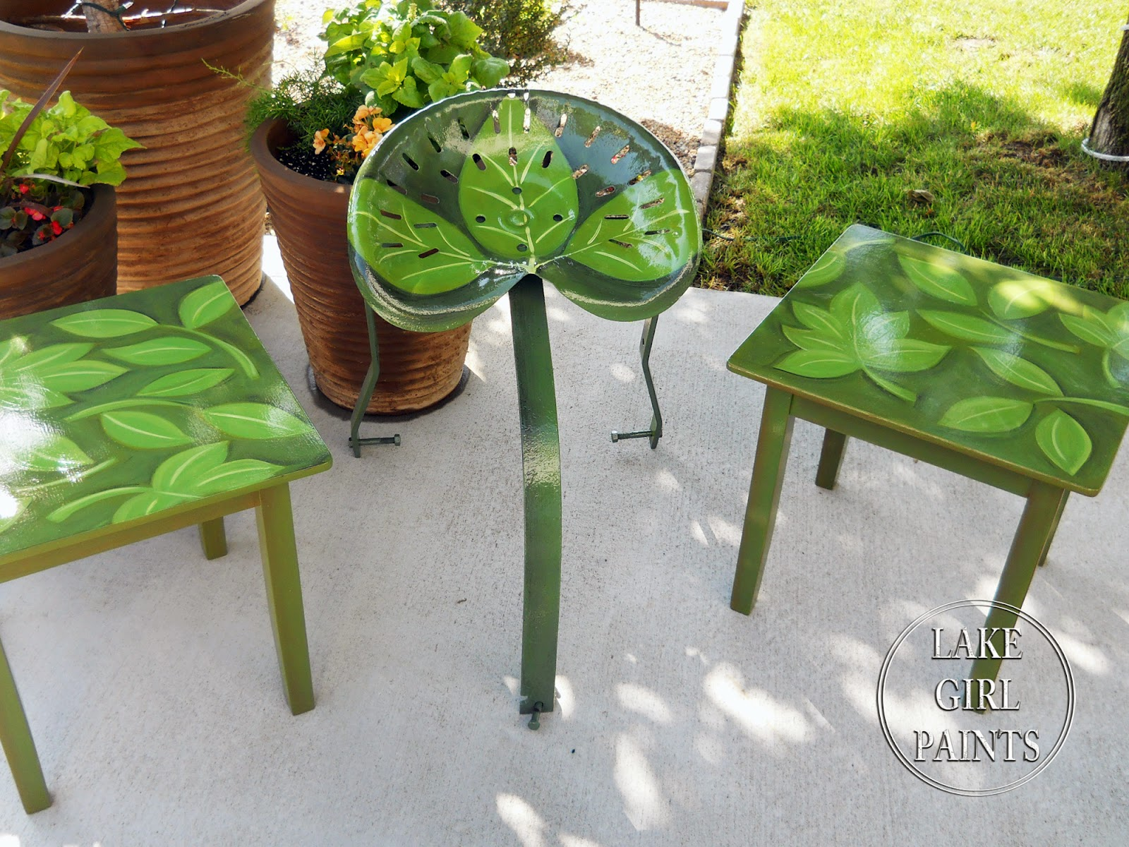 Tractor Seat Outdoor Chairs : Lake girl paints painted palm leaf on outdoor table and