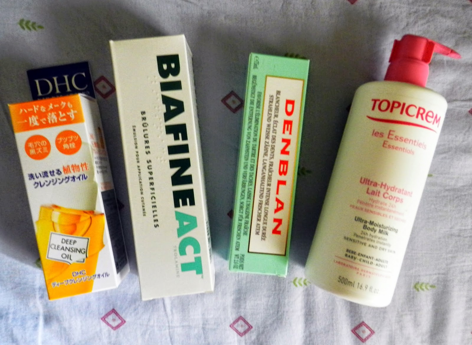 DHC Deep Cleansing Oil, BiafineAct, Denblan Toothpaste, Topicrem
