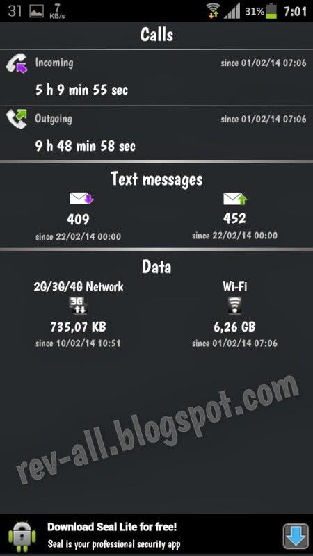 tampilan utama stats free - aplikasi android untuk mengetahui statistik penggunaan panggilan (call), sms, internet melalui jaringan gsm atau wifi (rev-all.blogspot.com)