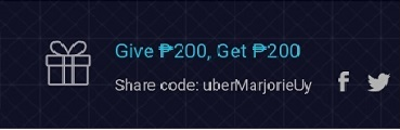 Get P200 Uber Using uberMarjorieUy