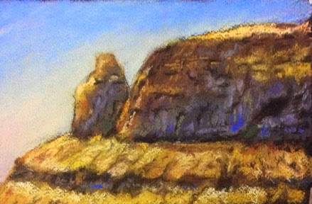 Soft pastel painting of mountain in Matheran By Manju Panchal