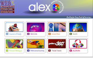 screen shot of the alex home page